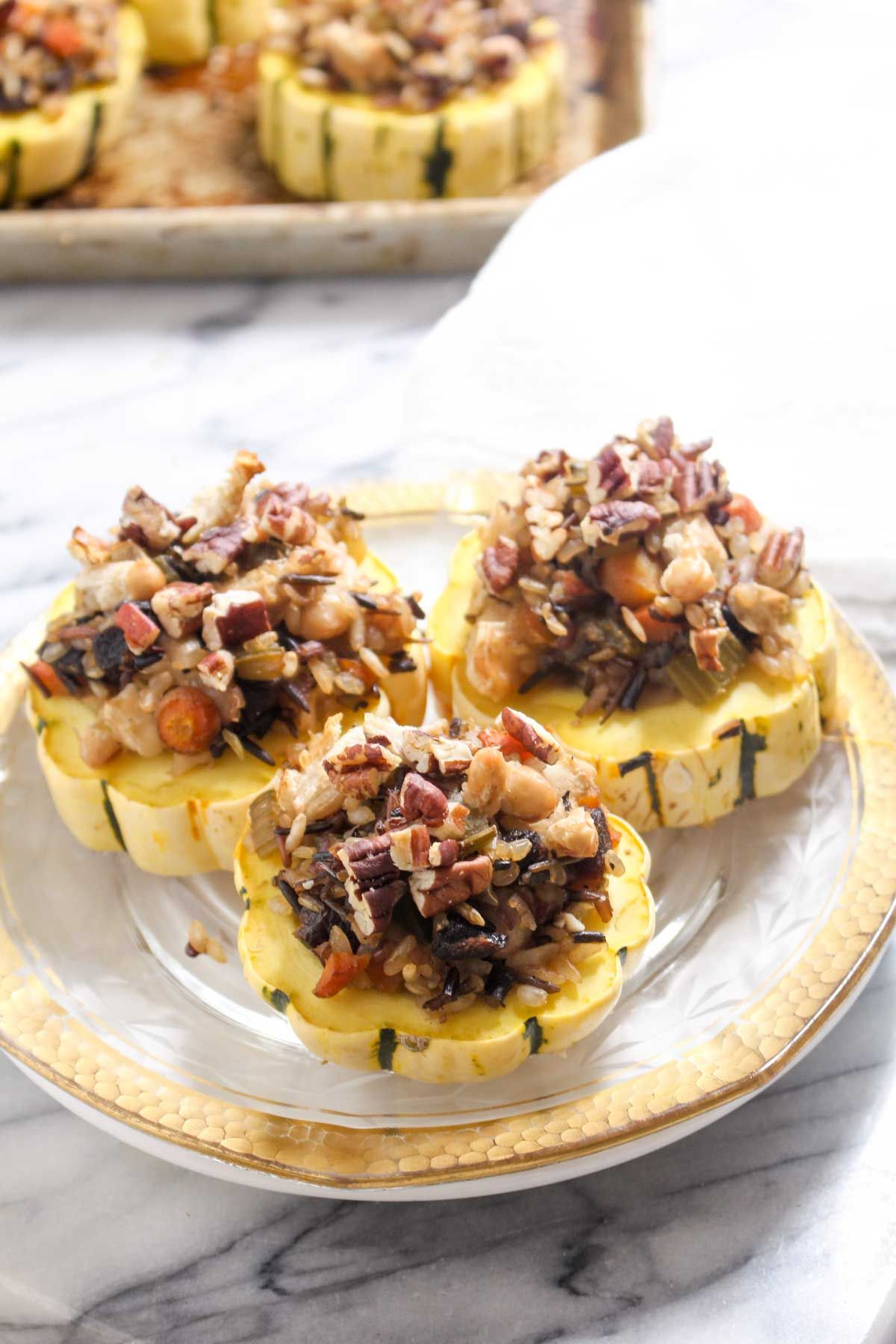 Wild rice stuffed delcata squash rings 1