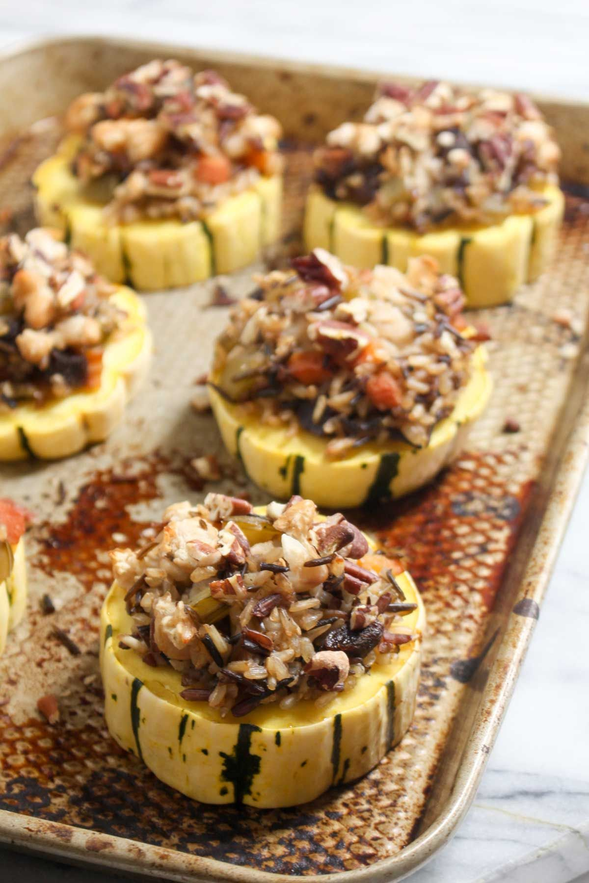 Wild rice stuffed delcata squash rings