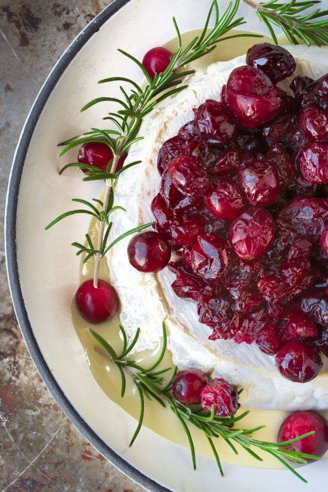 Baked brie with roasted cranberries and maple