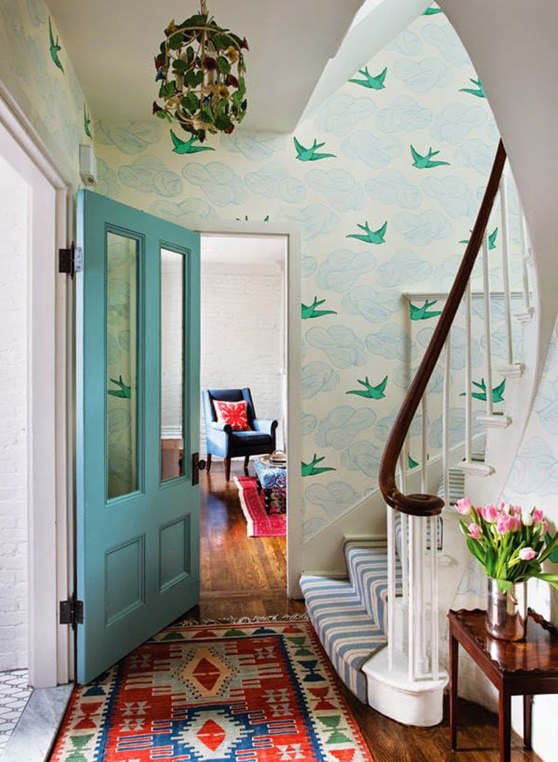 Blue and green bird wallpaper hallway