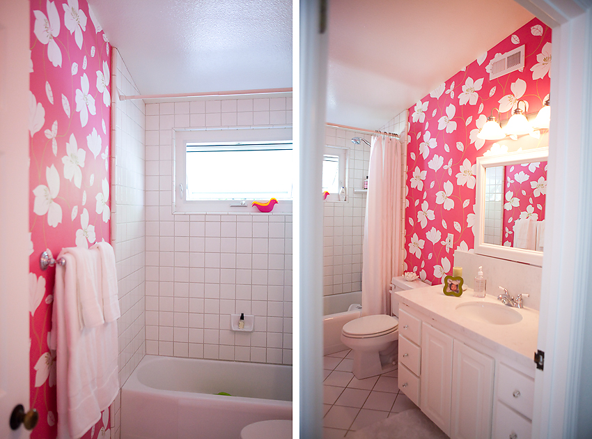 Bright pink bathroom colorful wallpaper