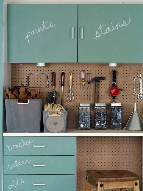 Chalkboard paint cupboards