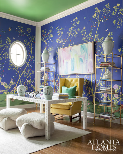 Chinoiserie blue study wallpaper