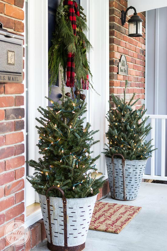 Christmas porch decor olive buckets