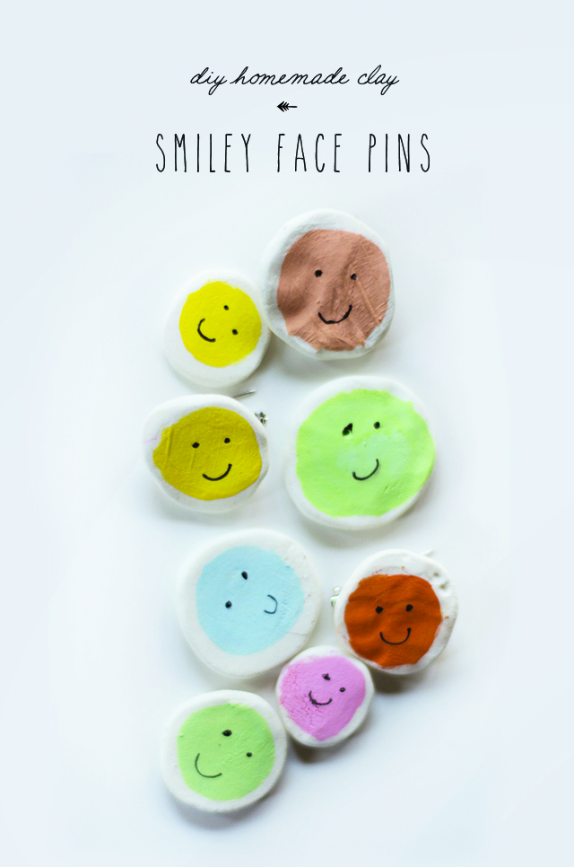 Clay smiley face pins diy