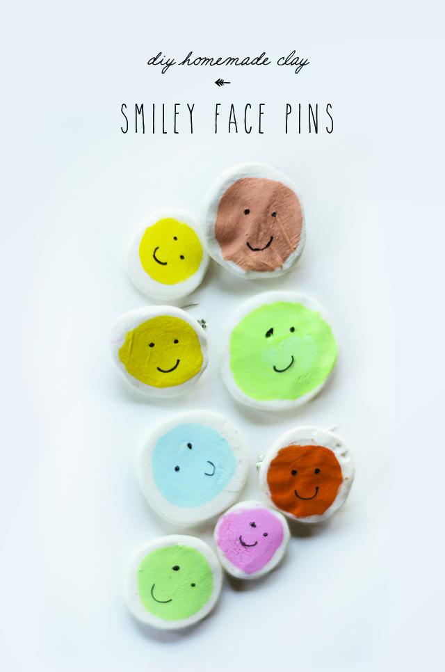 Clay smiley face pins diy