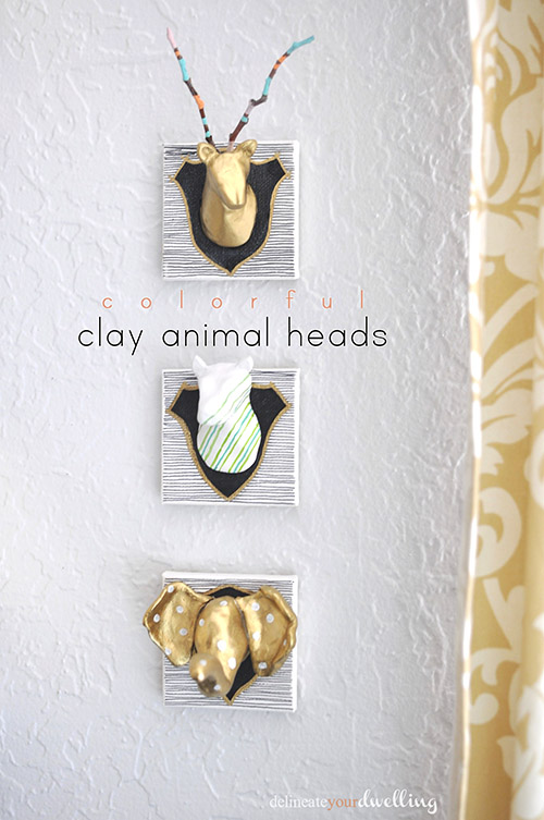 Color clay animal heads diy