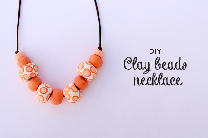 Diy clay beads necklace