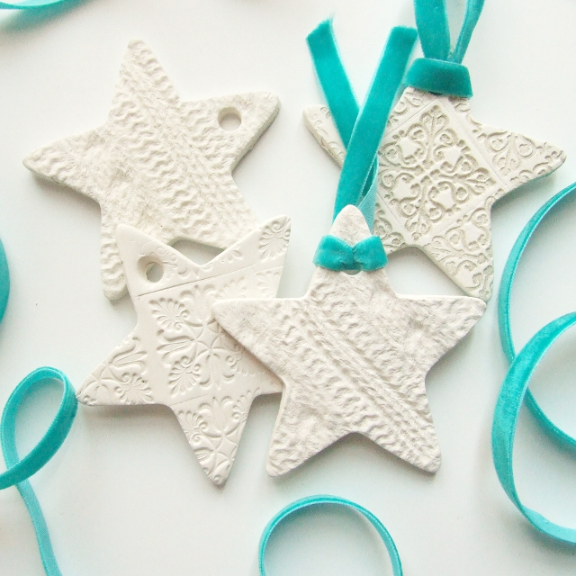 25 kid friendly clay projects to keep the little ones busy with diy embossed clay stars decorations sq 640 solutioingenieria Choice Image