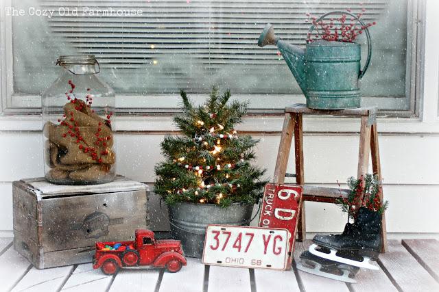 Diy junky christmas porch