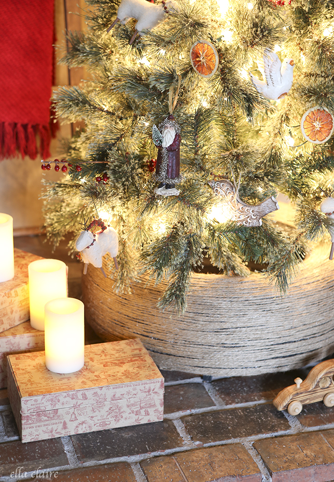 Diy jute wrapped tire christmas tree stand