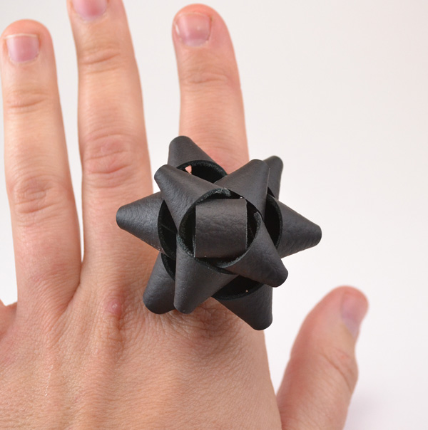 Diy leather bow ring