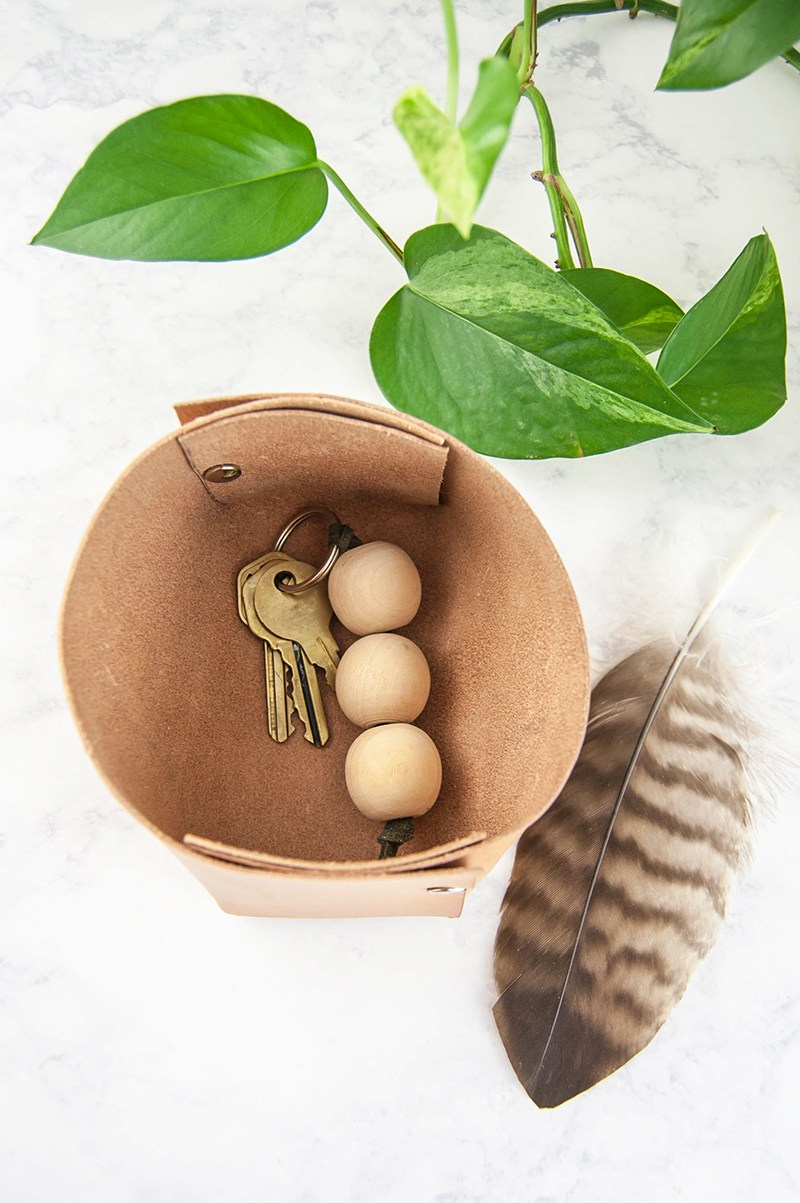 Diy leather catchall organization