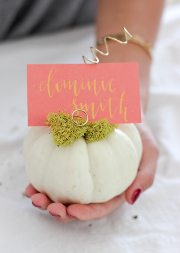 Diy mini pumpkin place cards