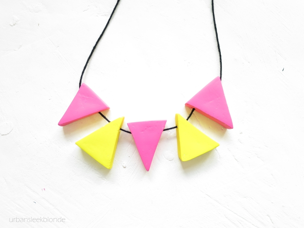 Diy pink and yellow triangle clay necklace
