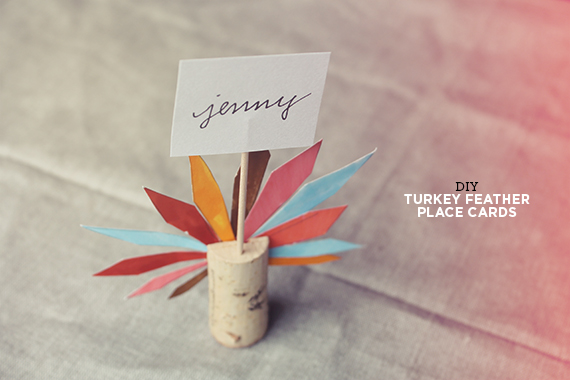 Diy turkey feather placecard