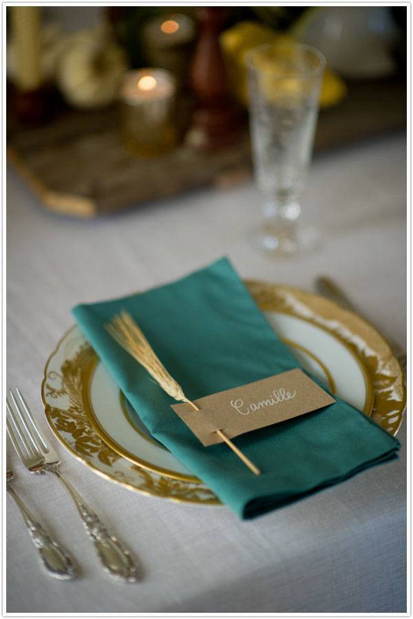 Diy wheat sprig place cards