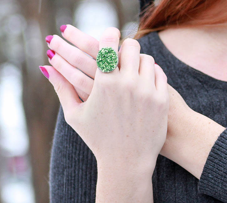 Faux druzy cocktail ring