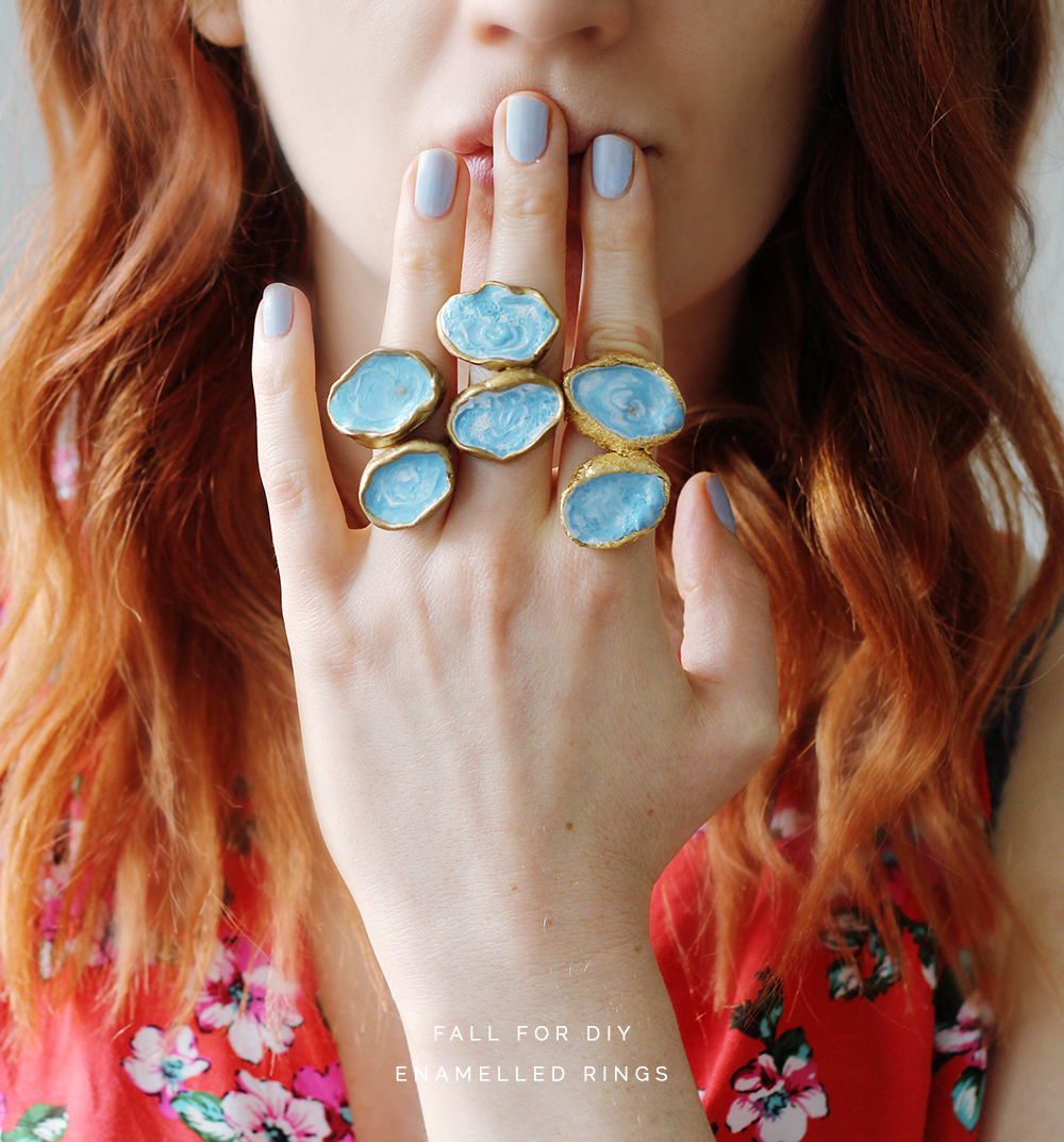 Faux enameled statement rings