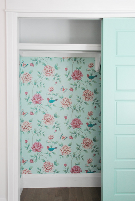 Floral green and pink wallpaper closet