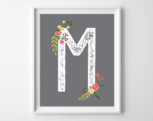 Floral initial monogram art printables