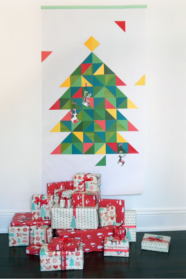 Geo paint chip christmas tree
