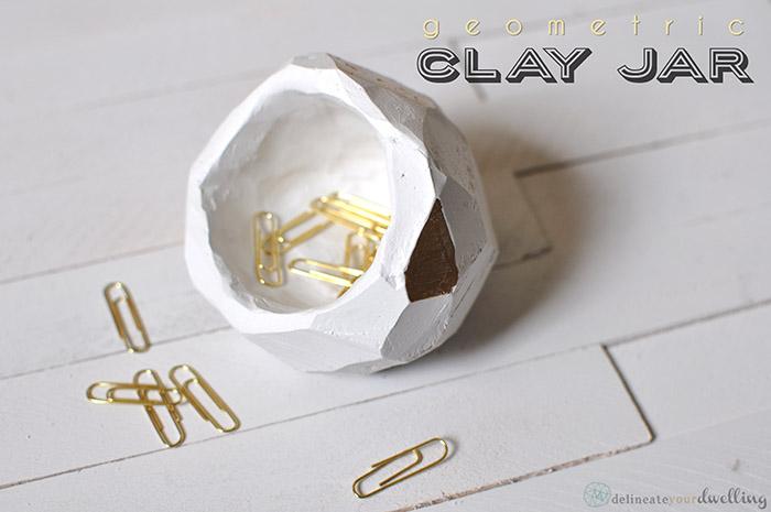 Geometric clay jar diy
