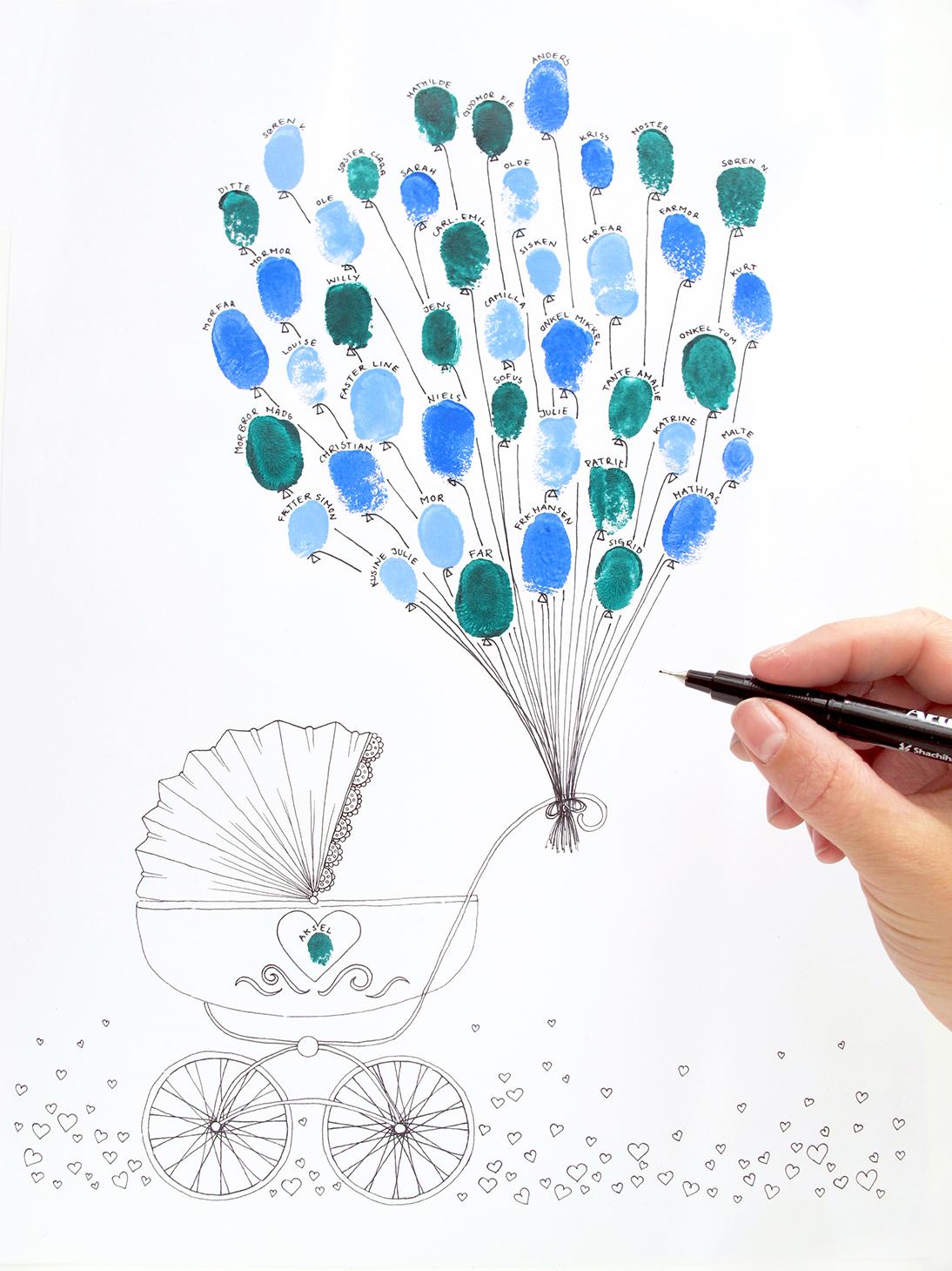 Illustration baby print balloons