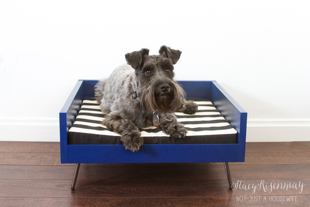 Midcentury modern wooden dog bed diy