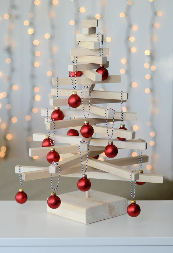 modern tabletop christmas tree - Wood Christmas Tree