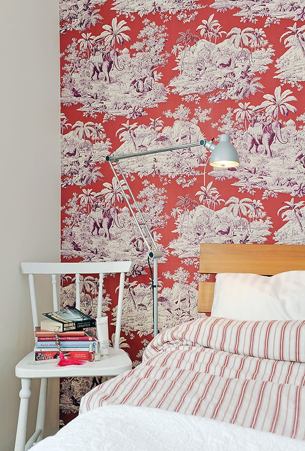 Purple orange toile wallpaper