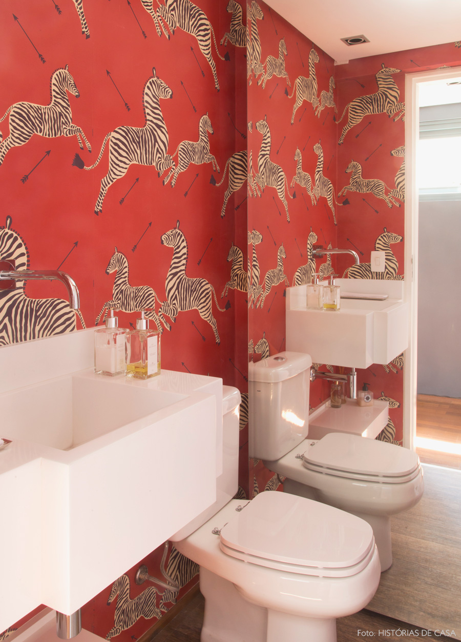 Red zebra wallpaper bathroom