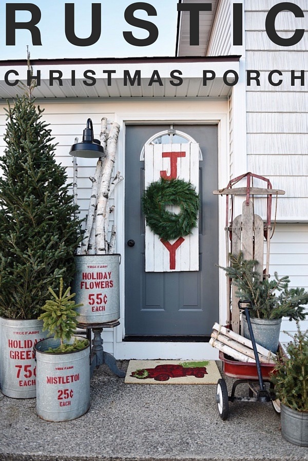 Rustic christmas porch diy