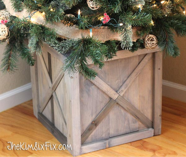Rustic x box christmas tree stand