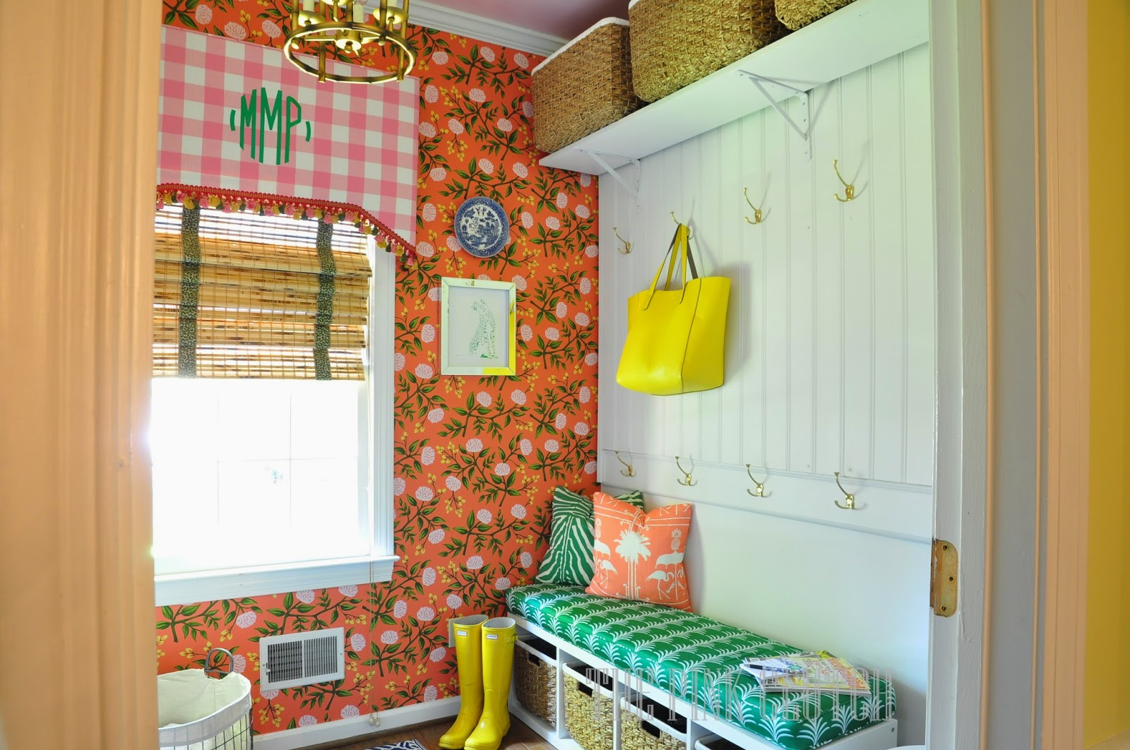 Technicolor orange laundry room wallpaper