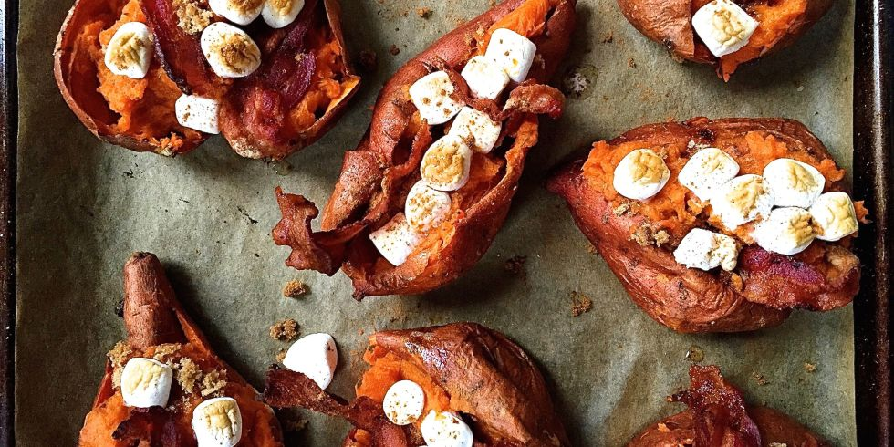 Twice baked sweet potatoes with bacon brown sugar and marshmallows