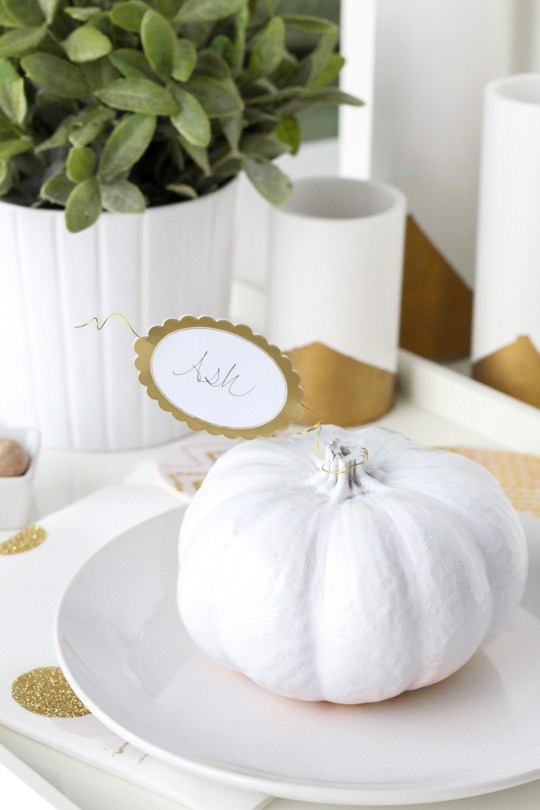White pumpkin place cards