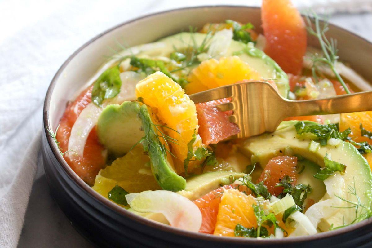 Avocado citrus salad serve