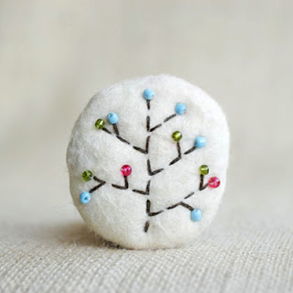 Beaded wool brooch
