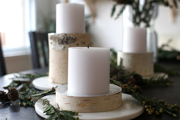 Birch log candle pillars diy