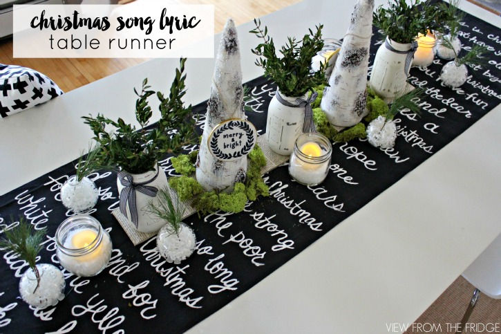 Black and white christmas lyric table runner feature