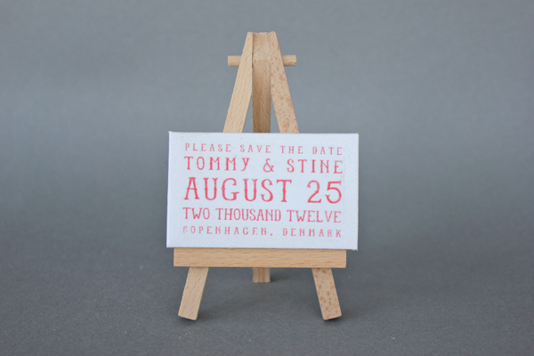 Cute save the date canvas on easel