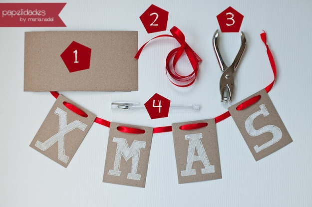 Cardboard and ribbon letter garland