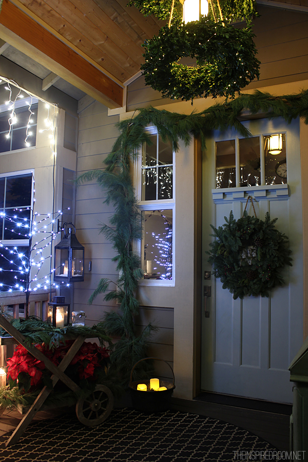 Christmas front porch diy chandelier