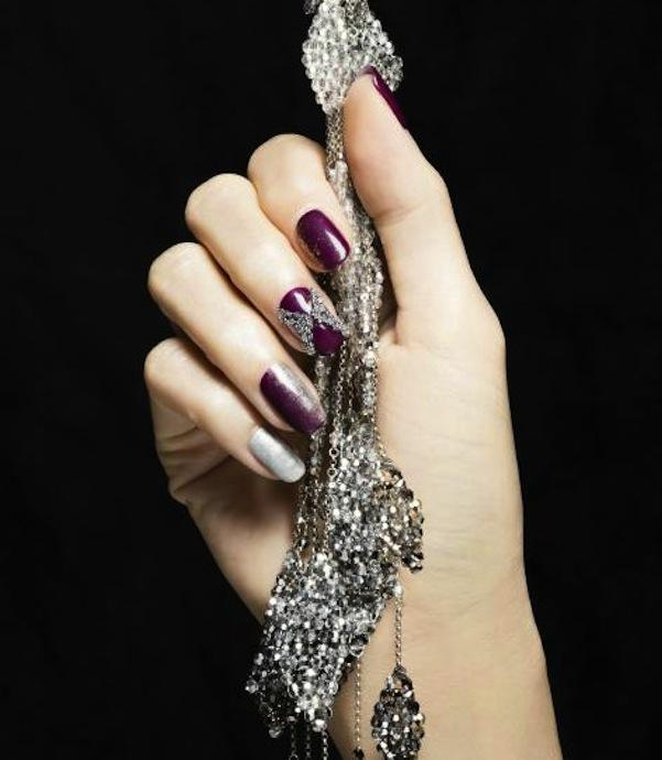 Crystal chevron nails