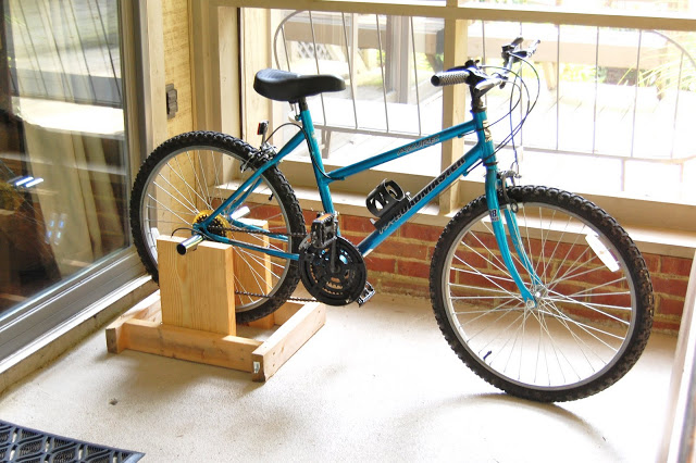 Diy back wheel bike rack