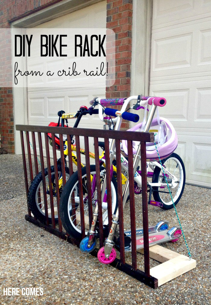 Diy bicycle rack Pulley Diy Bike Rack Crib Rail Diyscom 20 Diy Bikes Racks To Keep Your Ride Steady And Safe