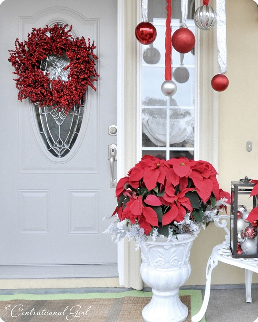 Diy christmas front porch with poinsettias