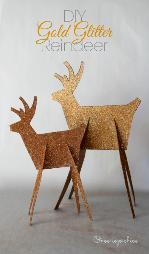 Diy gold glittered reindeer onekriegerchick