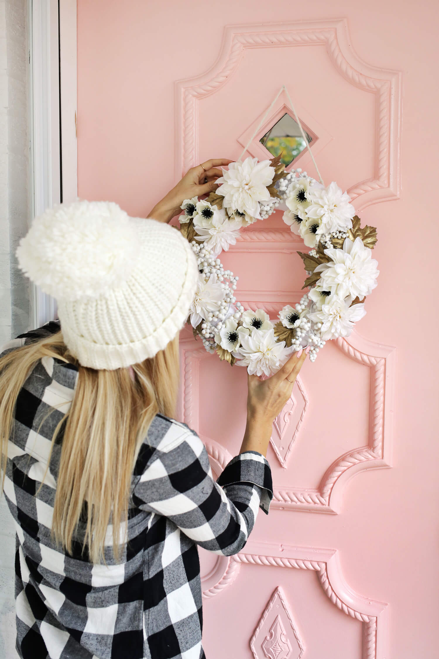Diy gold and white holiday wreath 4